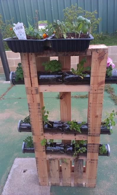 Upcycled vertical planter
